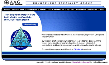 American Association of Geographers Cryosphere Specialty Group Website Design Review