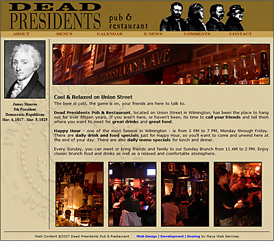 Dead Presidents Pub and Restaurant Web Design
