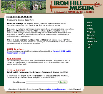 Delaware Academy of Science, Iron Hill Museum Website Design Review