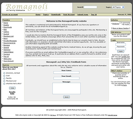 Romagnoli Family Website Design Review