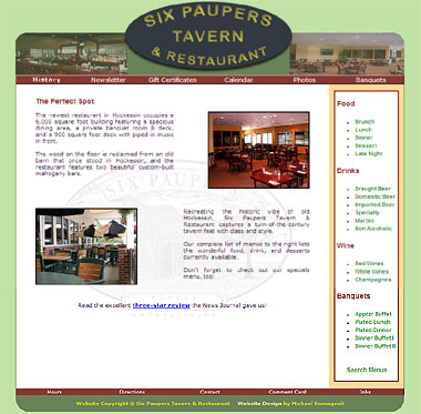 Six Paupers Restaurant and Tavern Website Design
